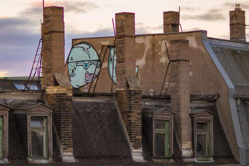 Grafitti an einer Hauswand der Lindenauer Nachbarhäuser.