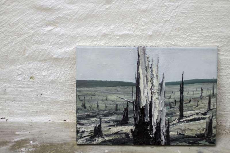Eine kleinformatige Arbeit von Helge Hommes.