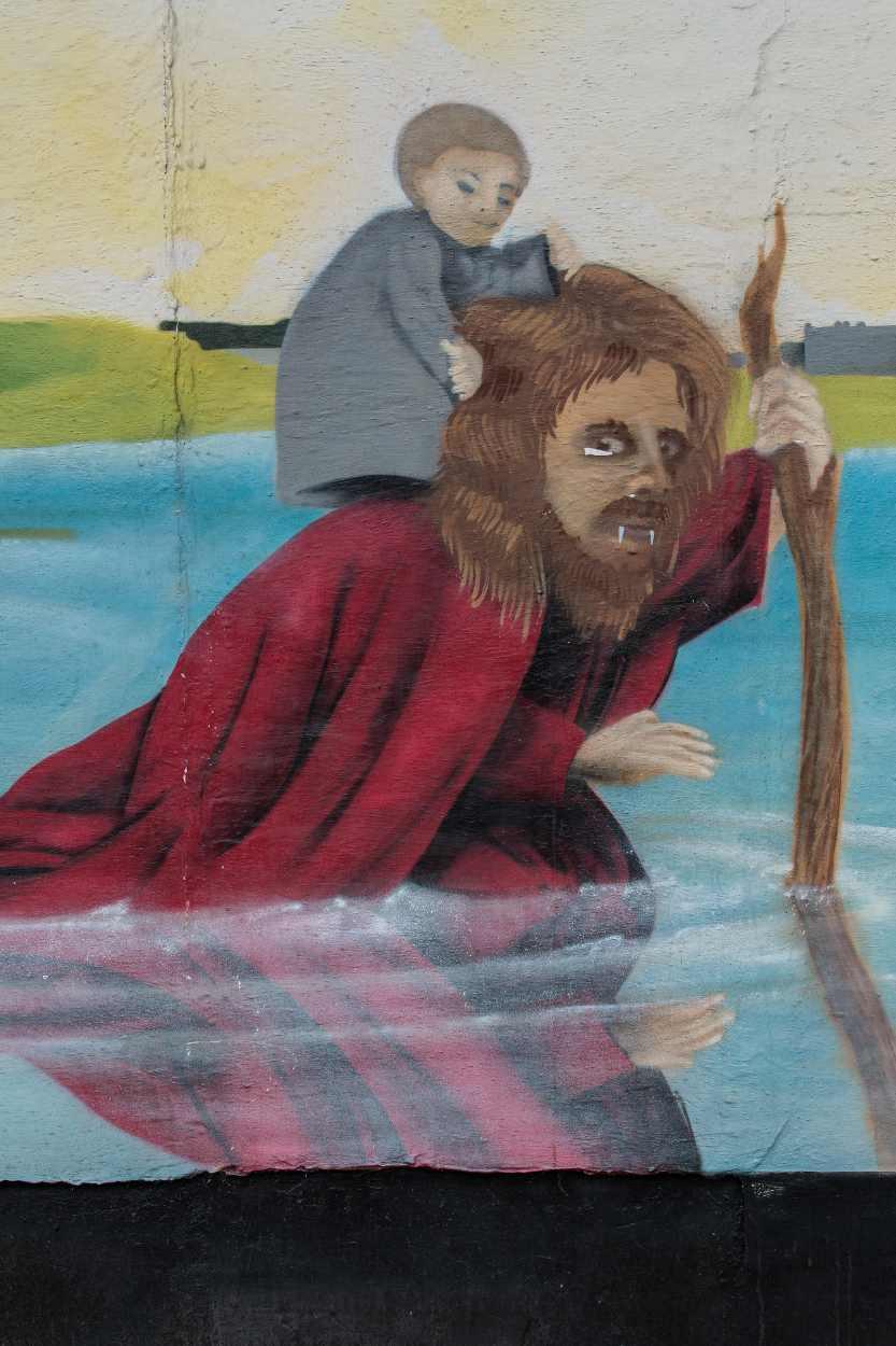 Gemälde an einer Hauswand in der Merseburger Strasse.