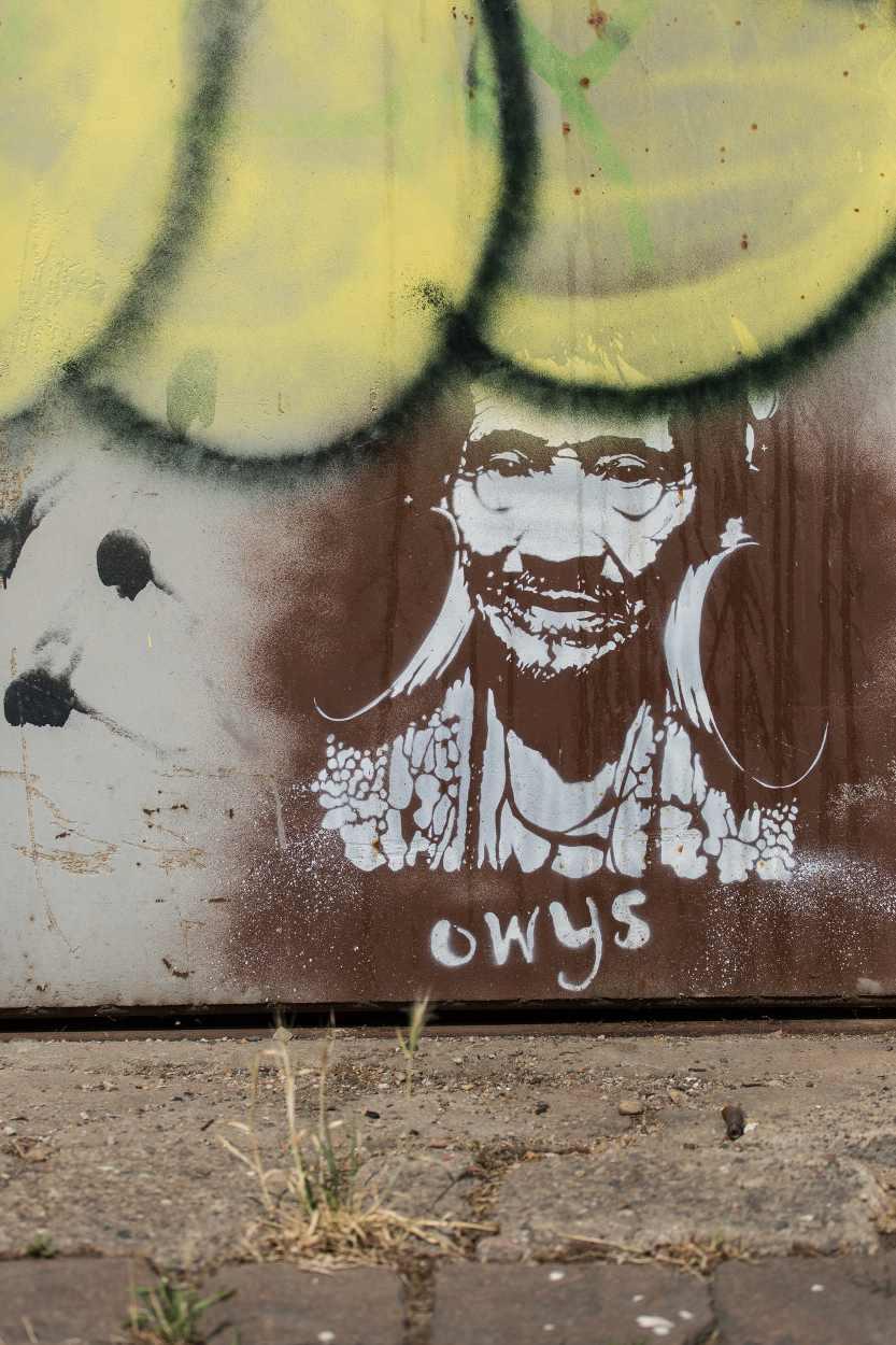Der an die Hauswand gesprühte Indianer begleitet uns auf dem Weg entlang der Merseburger Straße.