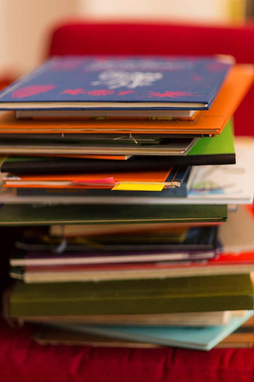 Zahlreiche Bücher stapeln sich auf einem Regal.