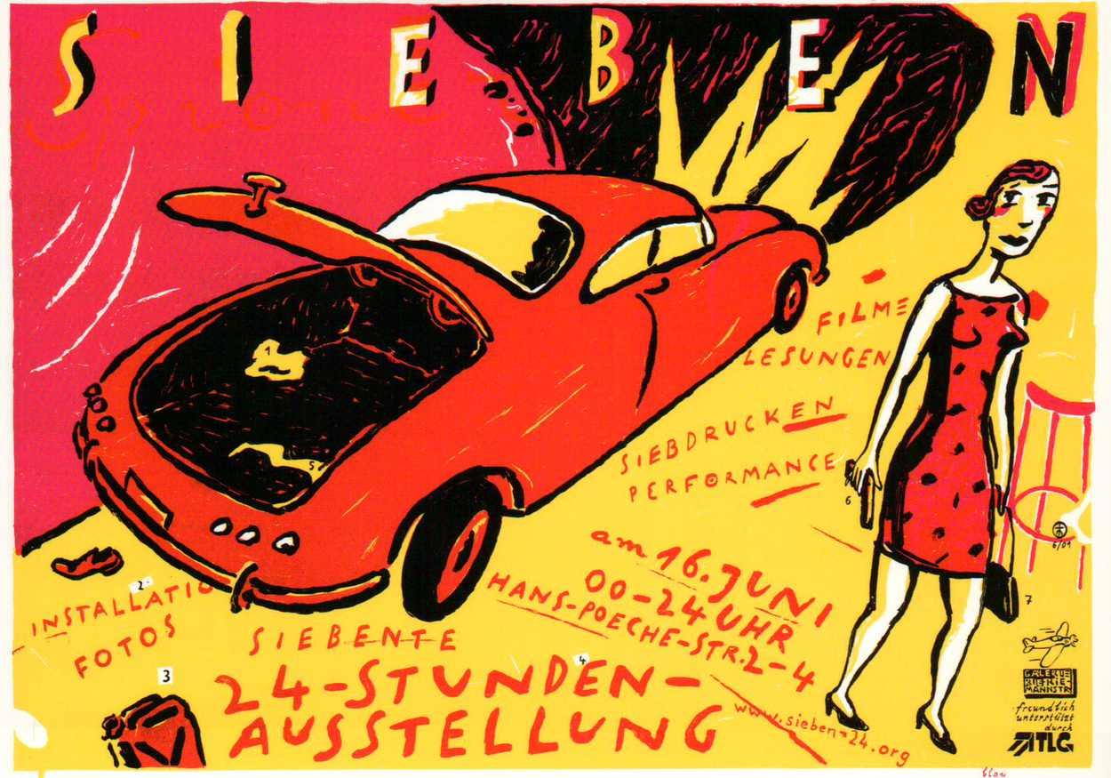 ostkarten zu den 24-Stunden-Ausstellungen. Die Siebdrucke sind von Thomas Matthaeus Müller. Sieben - eine künstlerische Hausbesetzung in der Hans-Poeche-Straße 2001.