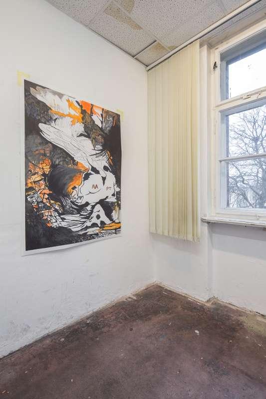 Raumansicht des Ateliers von Eva Walker in Leipzig Plagwitz.
