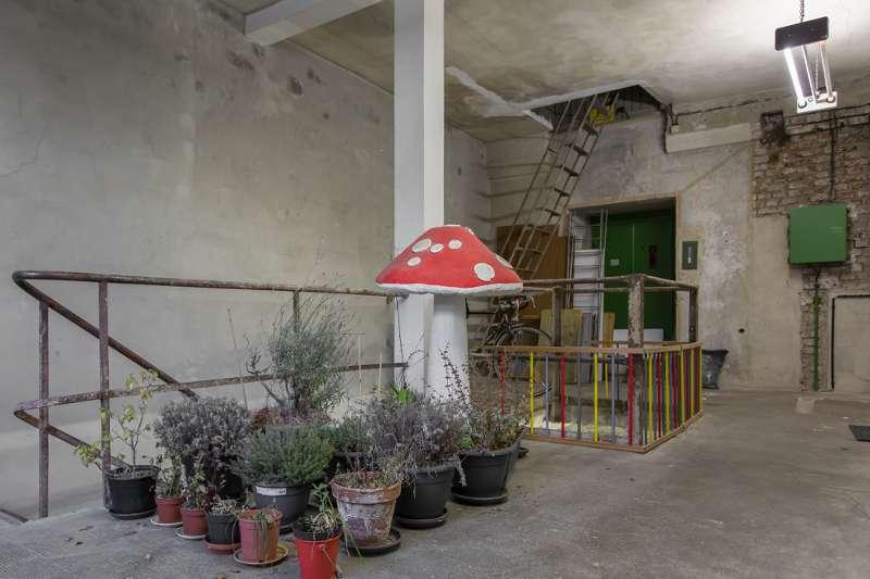 Pflanzen im Treppenhaus eines Gebäudes im Tapetenwerk Leipzig.