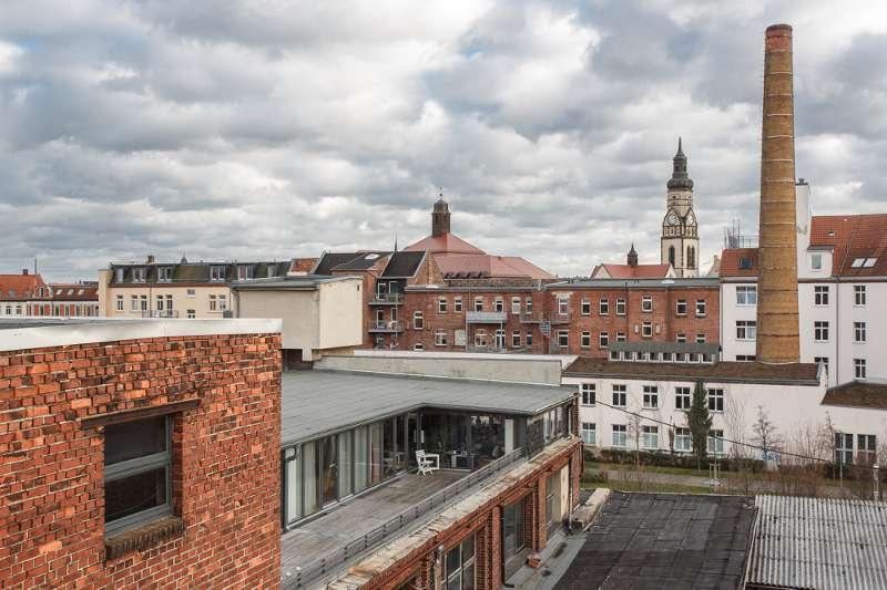 Blick über das Tapetenwerk in Richtung Leipzig-Plagwitz.