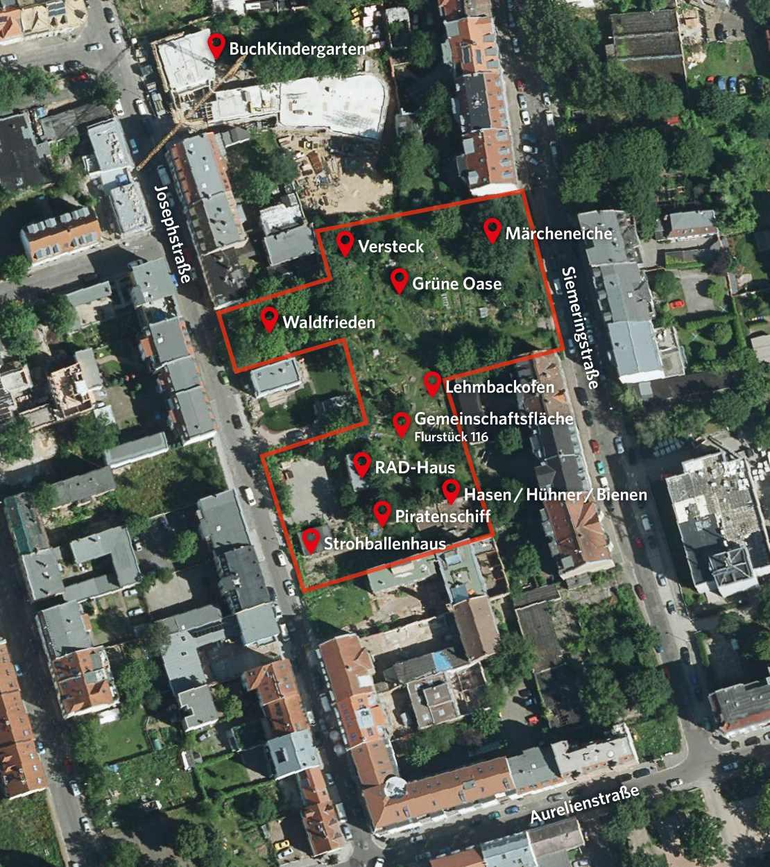 Übersichtskarte der Nachbarschaftsgärten.