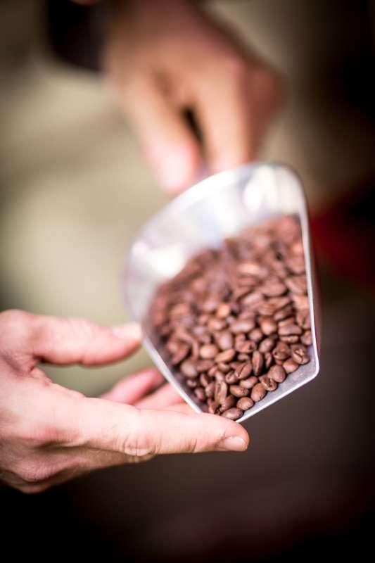 Geröstete Kaffeebohnen in einer Schaufel.
