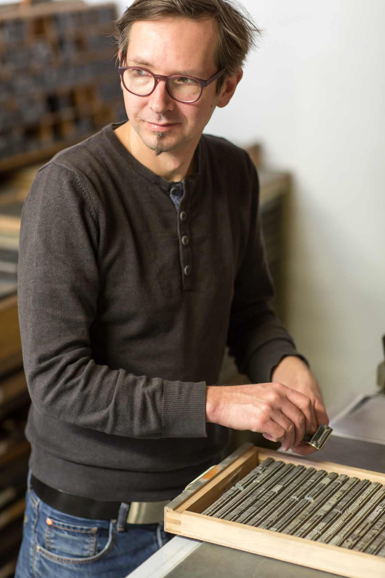 Werkstatt des Buchdruckers Thomas Siemon auf der Baumwollspinnerei Leipzig.