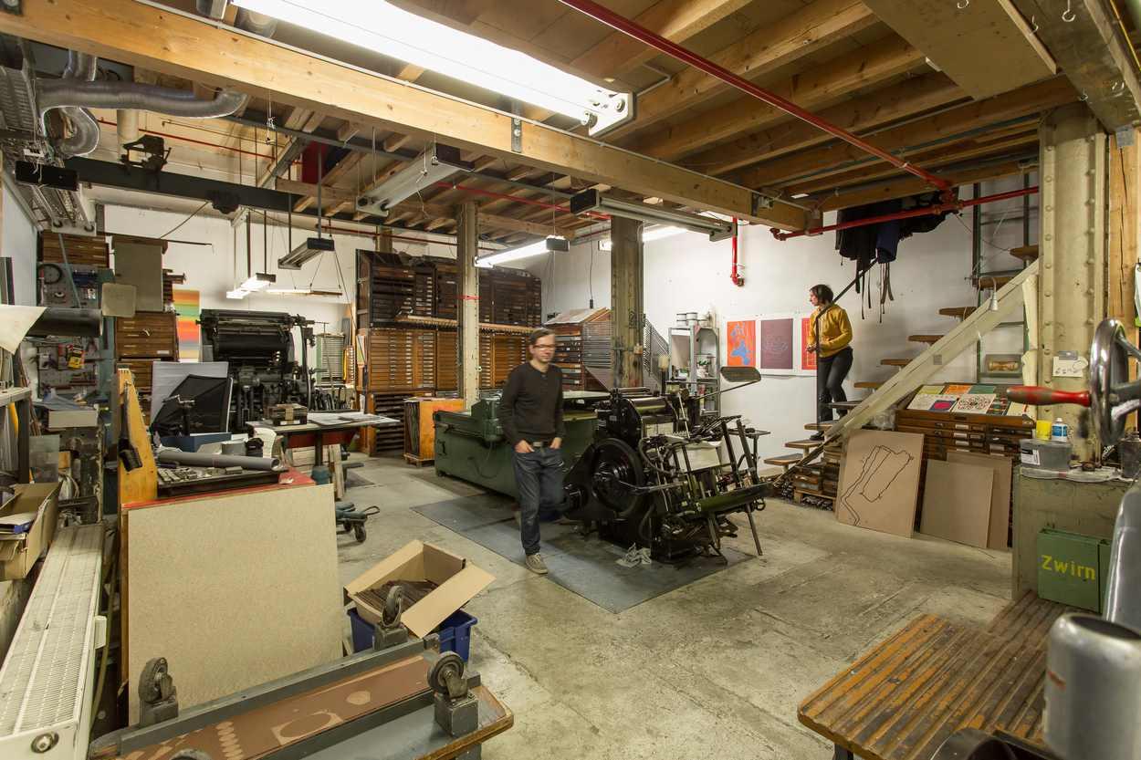 Buchdruckwerkstatt von Thomas Siemon auf dem Gelände der ehemaligen Baumwollspinnerei in Leipzig Lindenau.