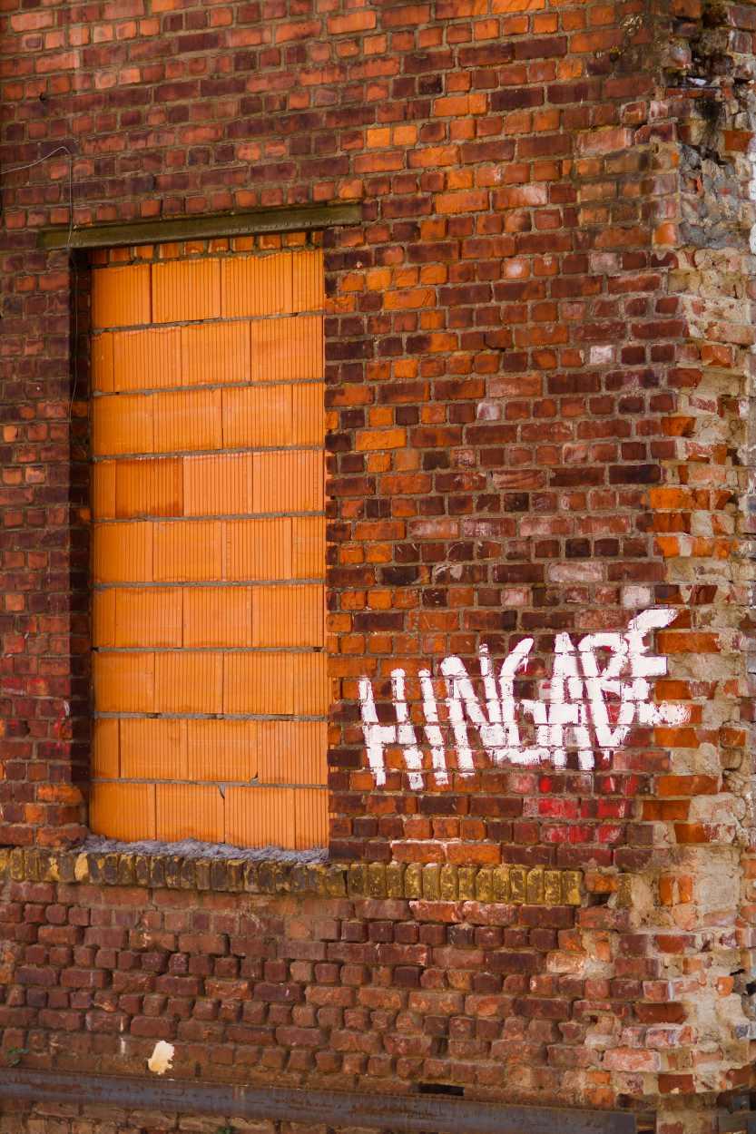 Aufnahme einer Hauswand in Leipzig Lindenau, auf der neben einem zugemauerten Fenster das Wort Hingabe gesprüht ist.
