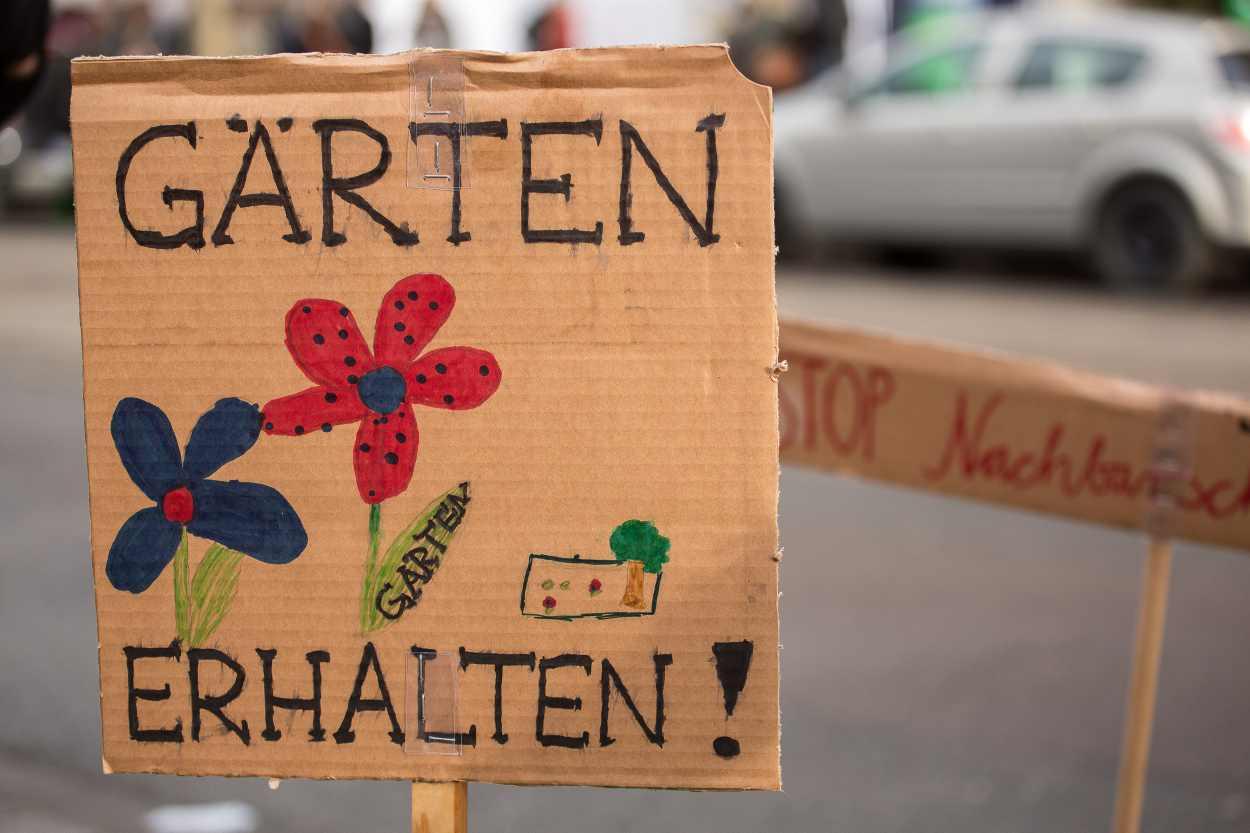 Aufruf zum Erhalt der Nachbarschaftsgärten.